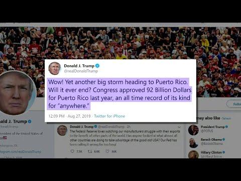 Trump tweets about Puerto Rico as Tropical Storm Dorian heads toward island