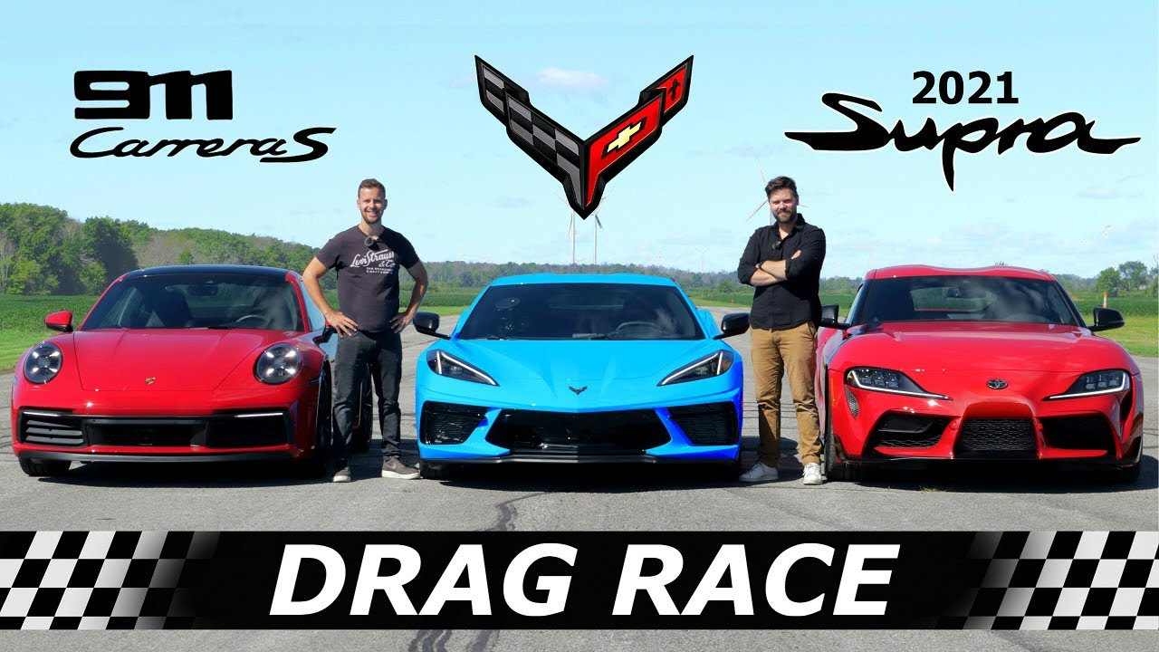C8 Corvette vs 992 Carrera S vs 2021 Toyota Supra // DRAG RACE, ROLL RACE & LAP TIMES