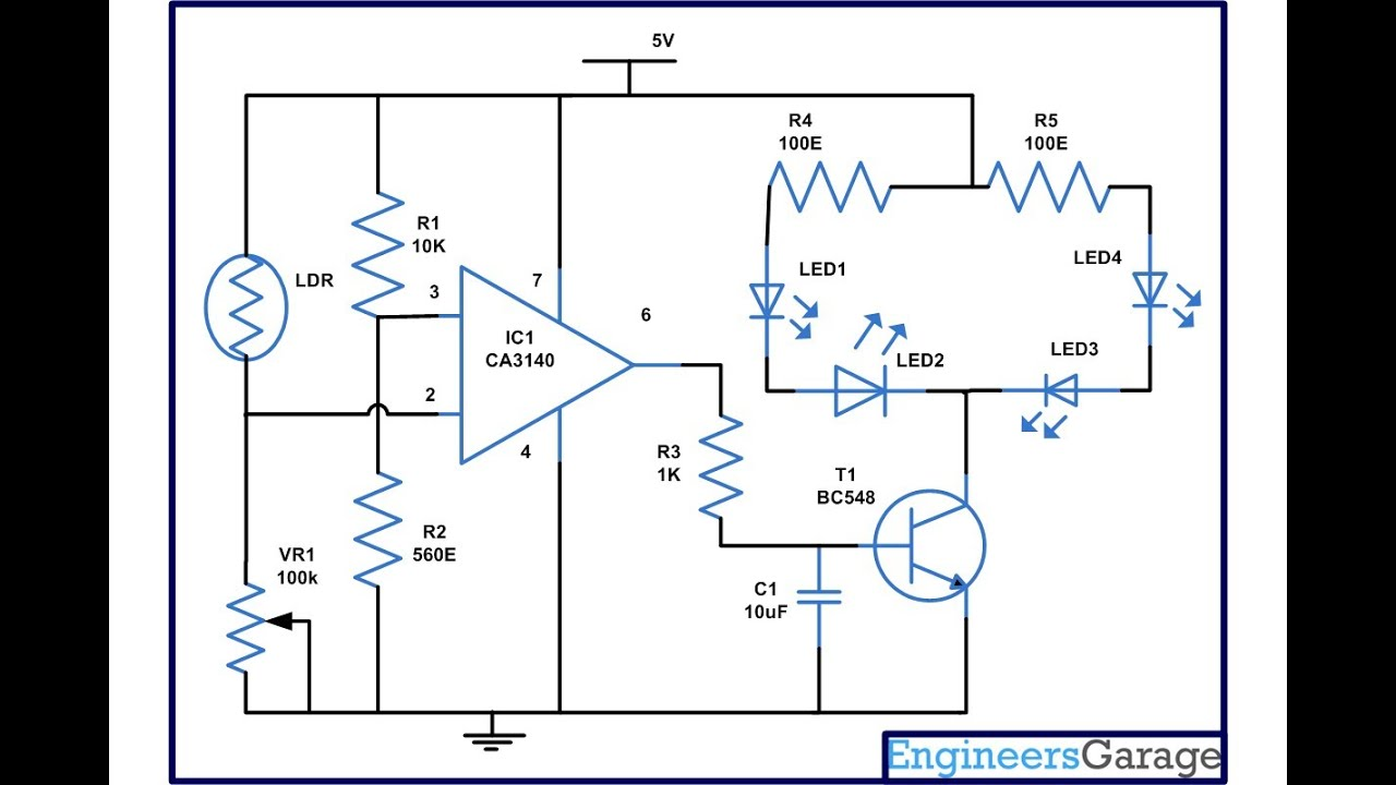 circuit diagram for led lamp using ca3140 ic circuit diagram for light dependent resistor engineersgarage [ 1280 x 720 Pixel ]