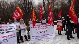 Путин помоги: Митинг обманутых дольщиков СУ-155 и офицеров «Бездомного полка»
