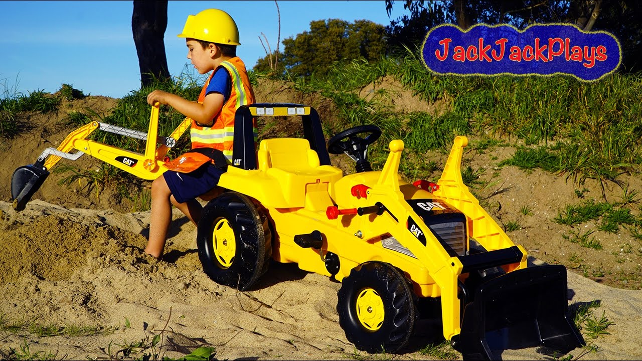 Backhoe Ride On Tractor Surprise Toy Unboxing Kids