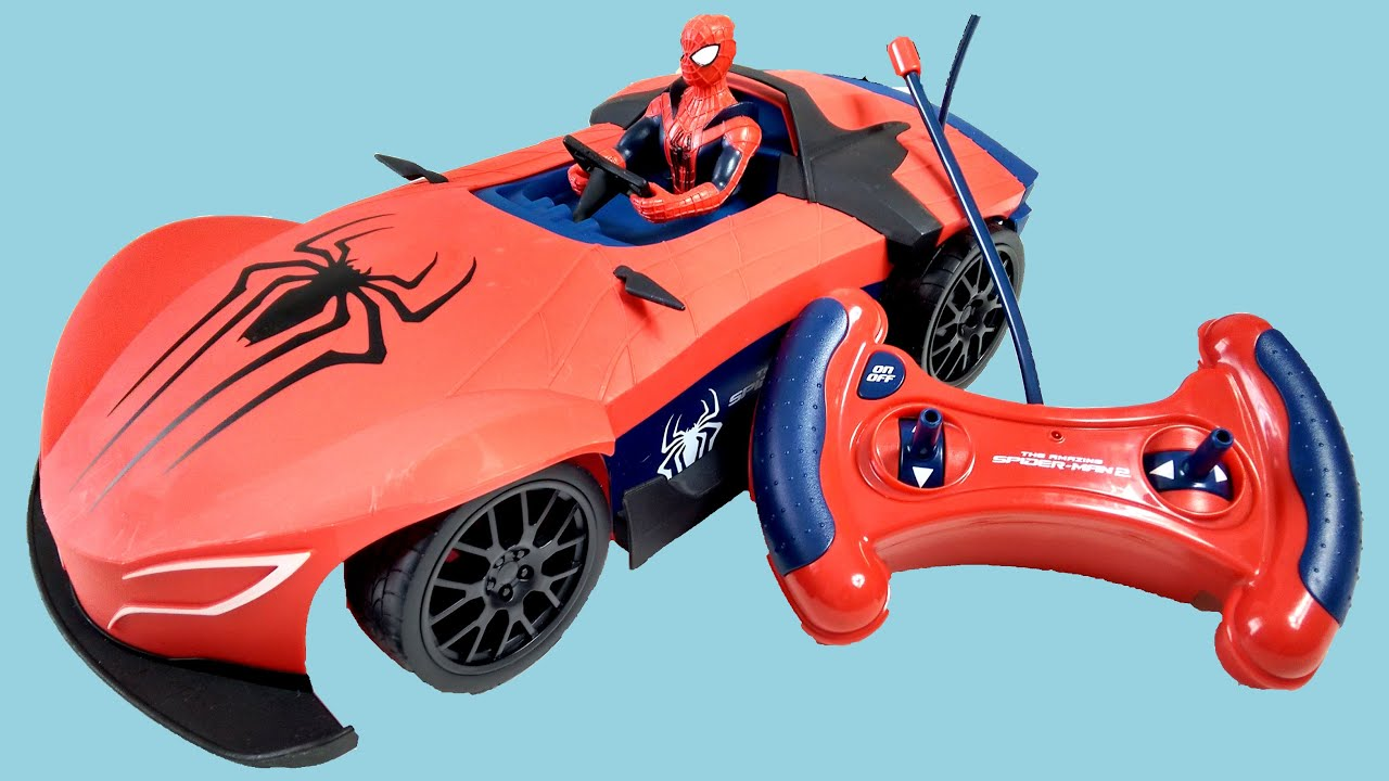 amazing spiderman super car rc remote control surprise unboxing playtime fun kids toy review