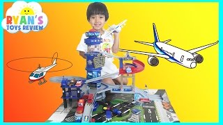 Fast Lane Multi Level Airport Playset Disney Cars Toys for kids Lightning McQueen Ryan ToysReview