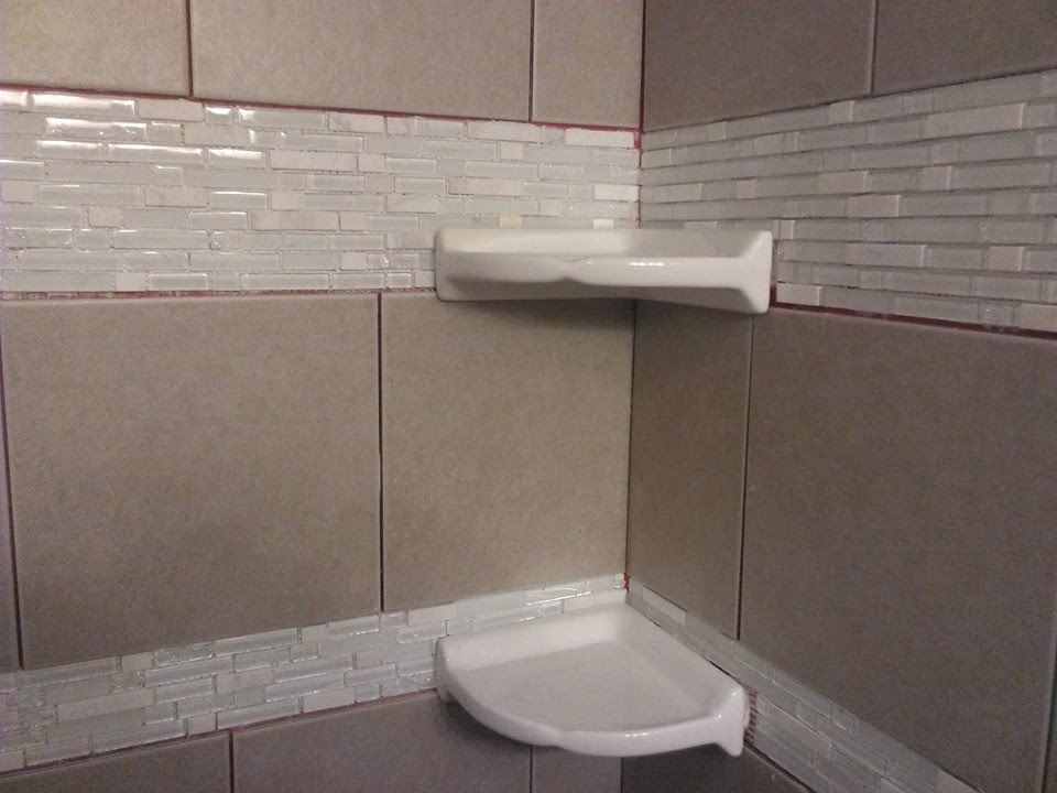 DIY shower tiling Installing floating corner shelves YouTube
