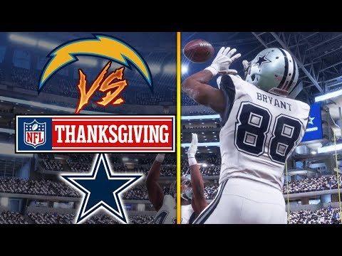 NFL ON THANKSGIVING 11/23/2017 - Dallas Cowboys vs Los Angeles Chargers (Madden NFL 18 Gameplay)