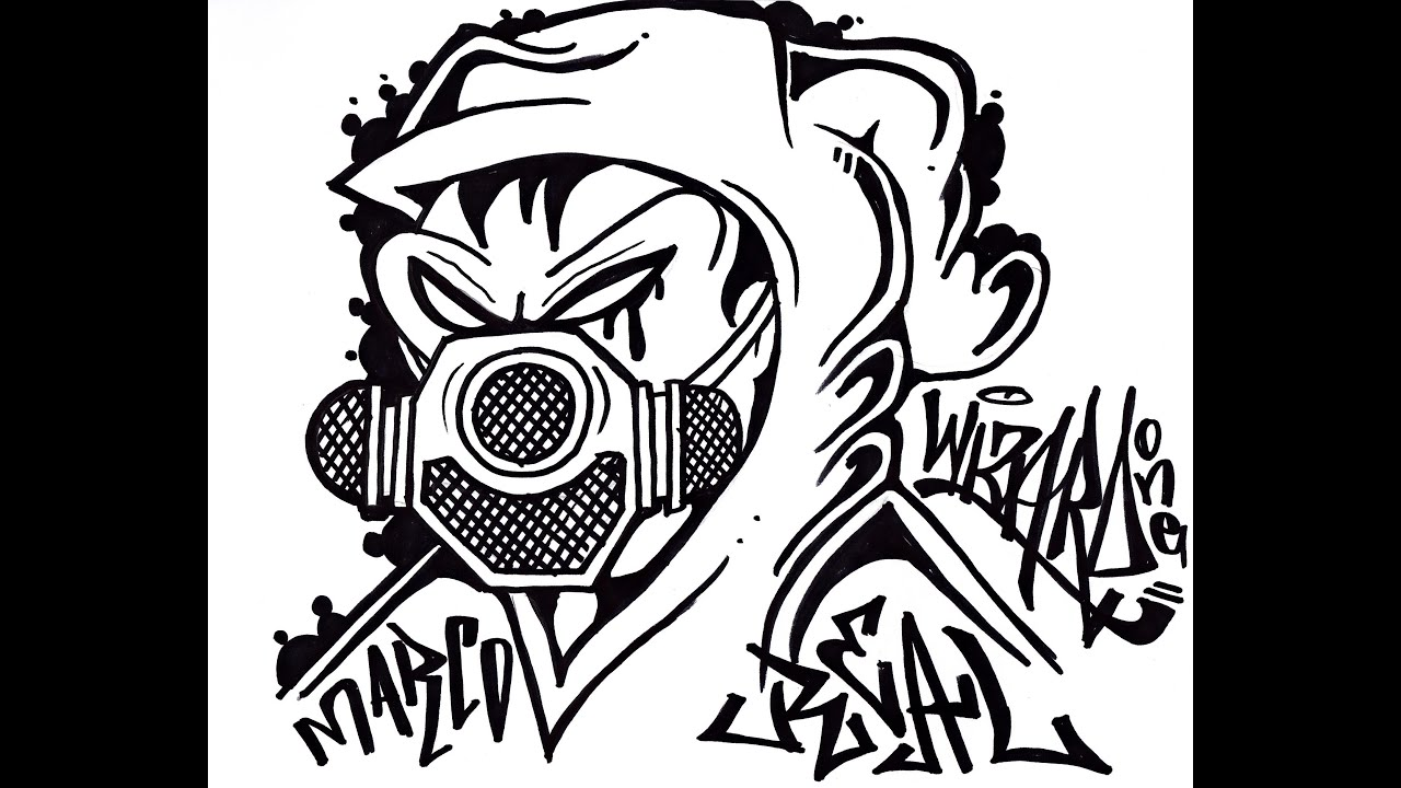 How to draw a gas mask graffiti character
