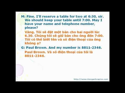 Tiếng Anh cho nhân viên nhà hàng, quán ăn bài 1-1