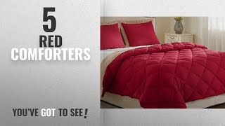 Top 10 Red Comforters [2018]: Lightweight Solid Comforter Set (Queen) with 2 Pillow Shams -