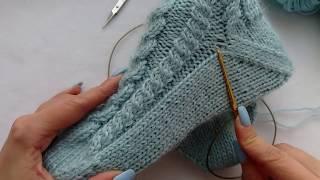 """как связать носки спицами с """"косами"""" от мыска. Забытая пятка. Подробный МК.  легко и просто."""