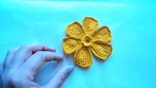 Цветок на шесть лепестков в технике тунисского вязания. Мастер-класс.