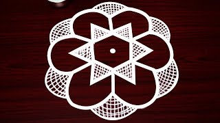 Beautiful star rangoli designs with 7 dots - simple kolam designs - small star muggulu designs