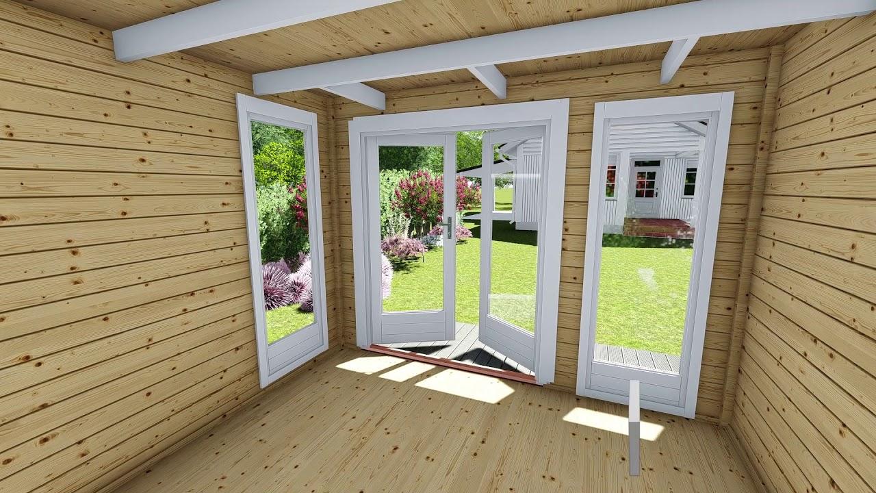 gartenhaus flachdach aus holz blockhaus mit anbau 28 mm kiel 28226 model youtube. Black Bedroom Furniture Sets. Home Design Ideas