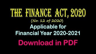 The Finance Act 2020 applicable for Financial Year 2020-21 | Download in PDF