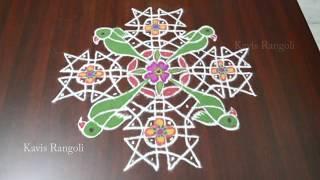 Beautiful Parrot Rangoli Designs | Bird Kolam with 12x4 Dots | Creative Muggulu