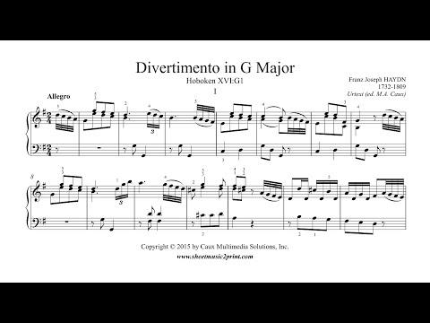 Haydn : Divertimento - Sonata in G Major, Hob. XVI:G1 (I : Allegro)