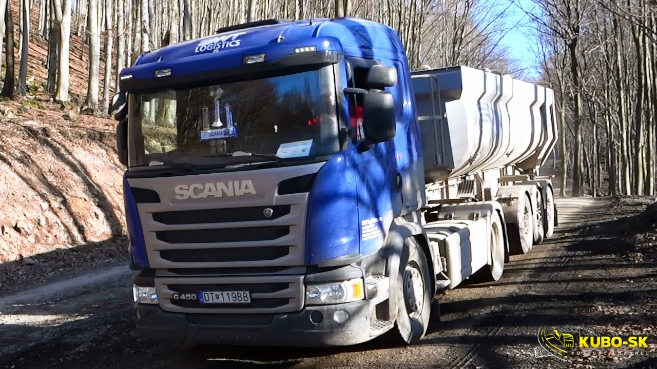 Scania G450 with Schwarzmuller dump trailer - YouTube