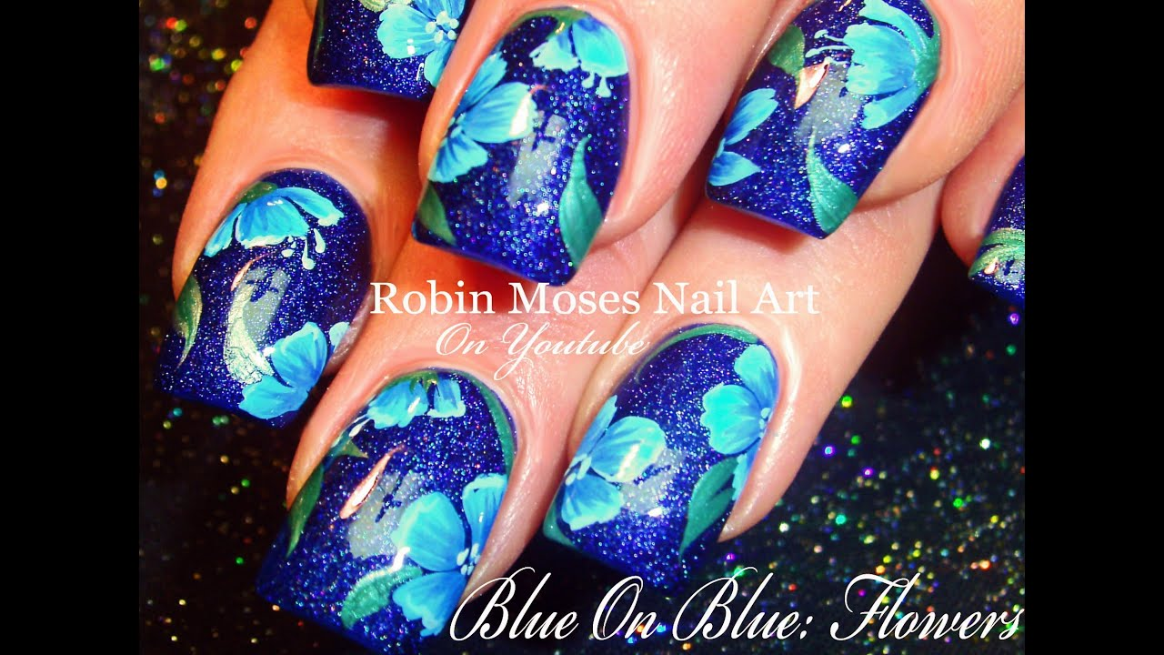 Blue Flower Nails | Navy Floral Nail Art Design Tutorial - YouTube