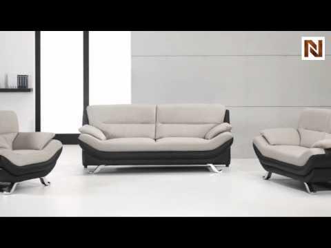 Bonded Leather Black And White Sofa Set Vgdm2927 Youtube