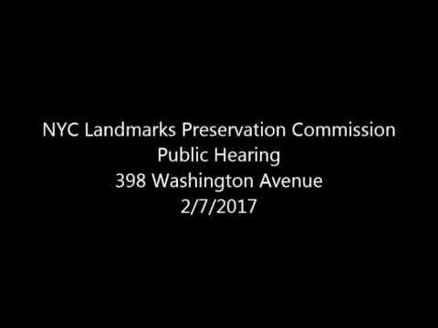 Public Hearing/Meeting 398 Washington Avenue