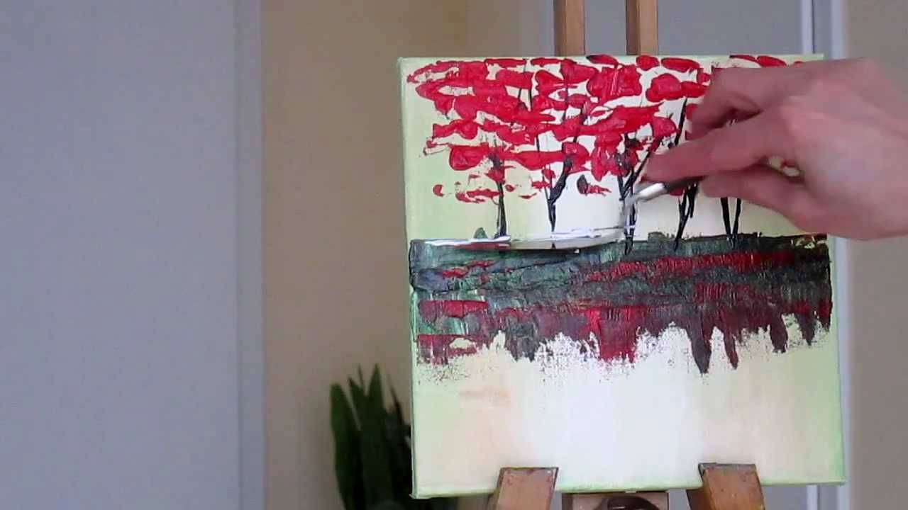 Tanja bell how to paint trees painting with palette knife for How to paint with a palette knife with acrylics