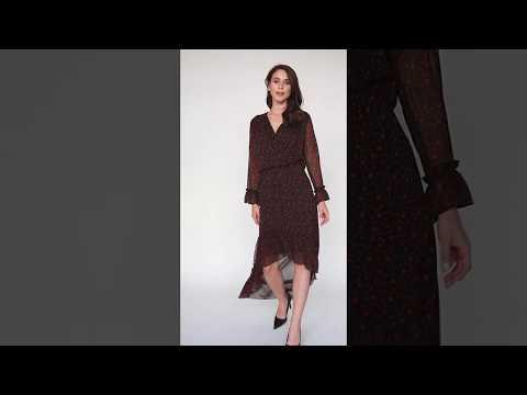 Video: Kobieca sukienka w groszki z asymetrycznym dołem
