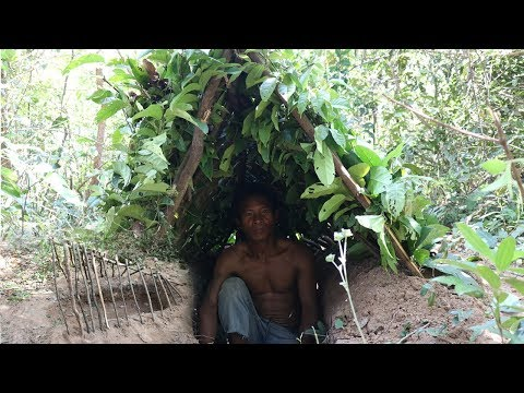 Wilderness Survival Skills: Primitive Shelters Roof Underground - Primitive Living Skill  #Part 2