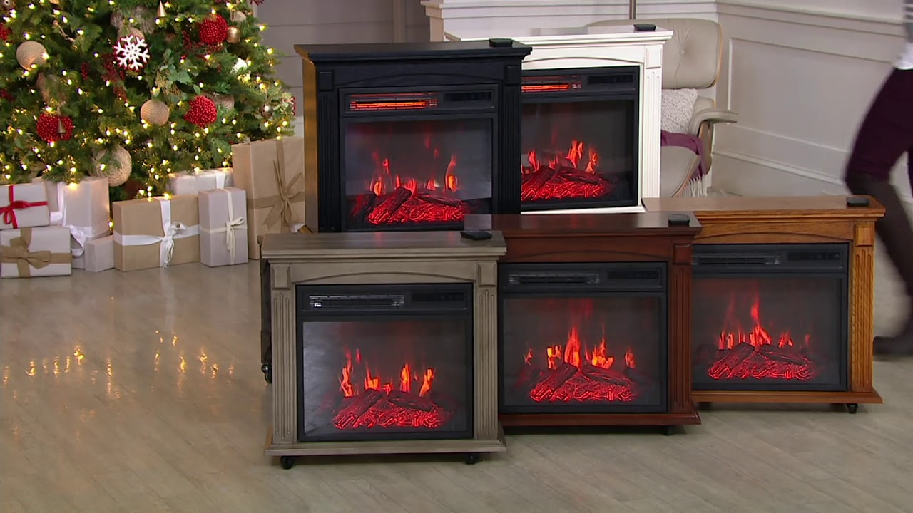 Com Rolling Mantel With Infrared Quartz Electric Fireplace