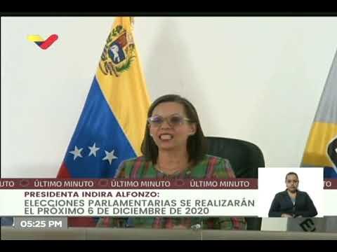 6 de diciembre serán las elecciones legislativas en Venezuela: Presidenta del CNE publica cronograma