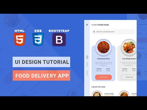 Mobile App UI Design Tutorial - Food Delivery App | HTML CSS BOOTSTRAP Speed Coding