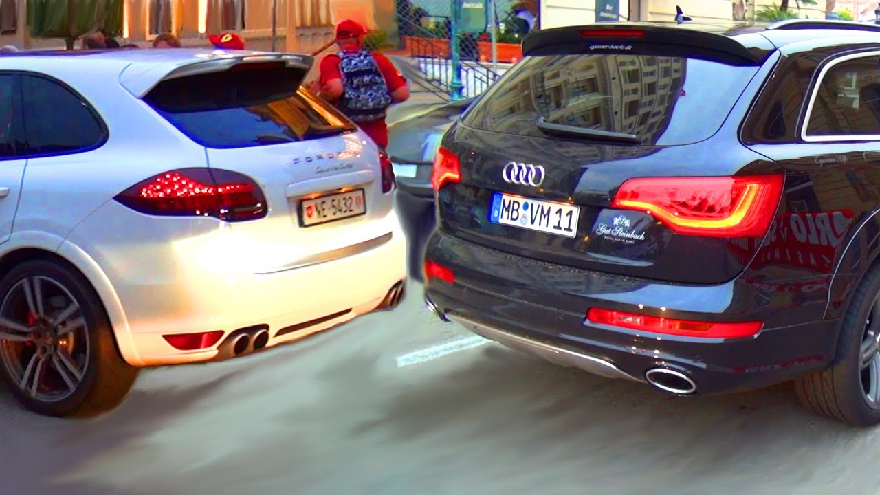 audi q7 v12 diesel vs porsche cayenne turbo suv youtube. Black Bedroom Furniture Sets. Home Design Ideas