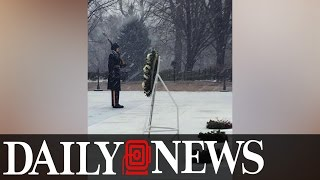Soldiers Guard Tomb of the Unknown Soldier in the Blizzard