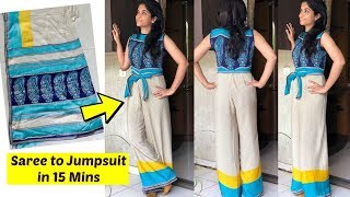 Make a Jumpsuit from Old Saree in 15 Minutes | Recycle Old Sarees