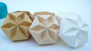 Paper Wall decoration. Origami paper stars/ flowers. Diamond shape origami decor.