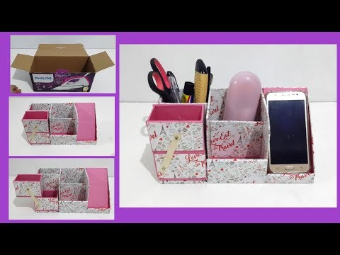 DIY Desk Organizer | Best Out of Waste Crafts | How To Use Waste Box