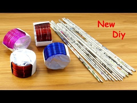 Newspaper & old bangles Craft Idea | DIY Home Decor | Newspaper & old bangles reuse idea