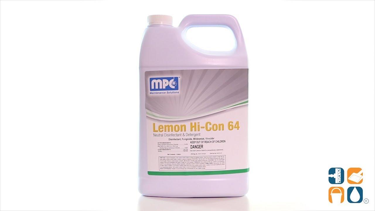 Lemon Hi-Co 64 Neutral Disinfectant and Detergent, 1 Gallon Bottle  (L64-01MN)