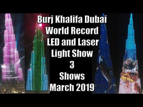 World Record Burj Khalifa Light Show 2.7K Dubai 2019