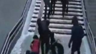 People falling on icy stairs