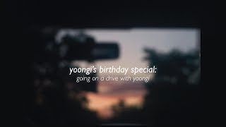 yoongi talking for 30 minutes in a car ride (민피디 생일ㅊㅋ)