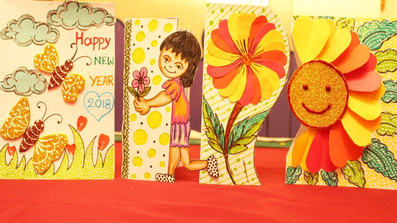 Happy New Year 2018 Greetings Card Making At Home Card Idea For