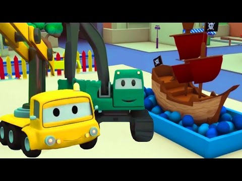 Construction Squad: Dump Truck, Crane & Excavator build a Pirate Ship ⛵ 🏴‍☠️  for Car City's Babies