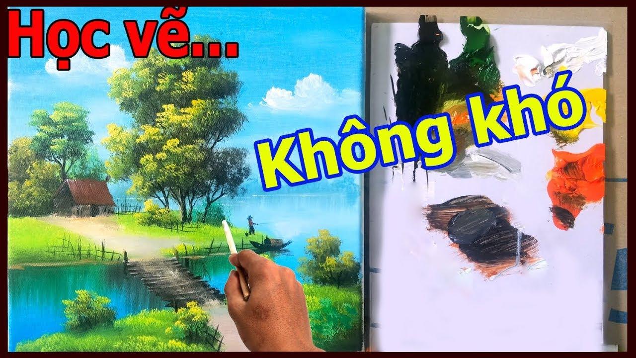 Dạy vẽ tranh phong cảnh cho người mới học, LH học vẽ tranh tường: 0969.033.288