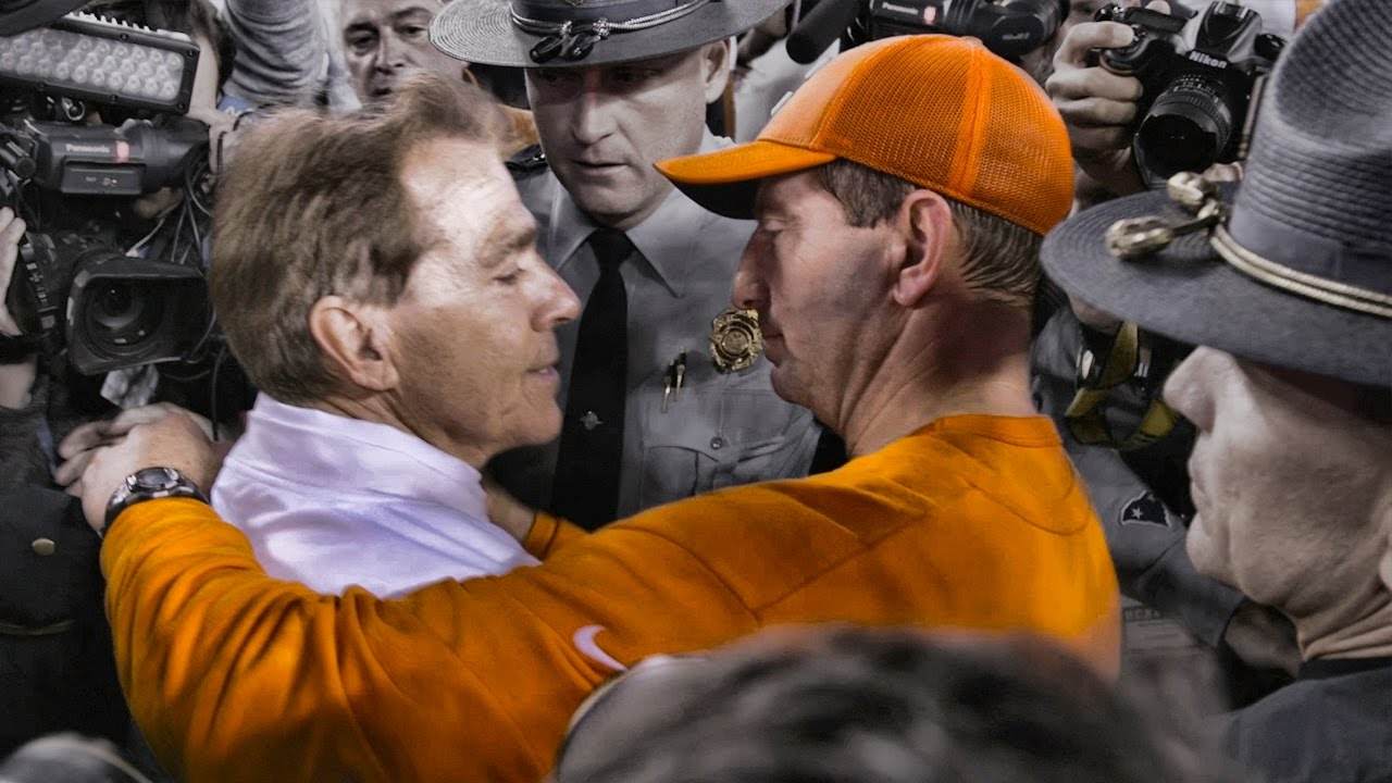 Watch chaotic scene as Nick Saban attempted to seek out ...
