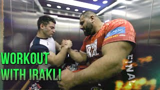 Levan returns to training with Irakli Part 1 - Irakli lifting big weights! [With Subtitles]