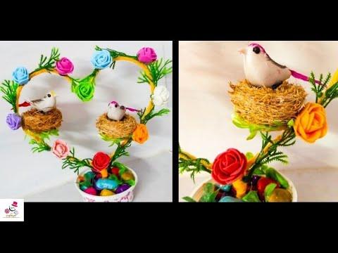 How To Make Bird Nest Heart Shaped Showpiece | Bird Nest Craft | DIY Showpiece | DIY CraftsLane