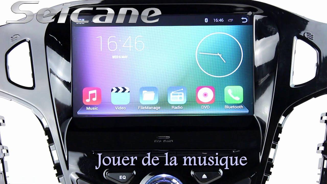 Ford focus 2012 autoradio android 4 4 avec lecteur dvd commande volant et chargement iphone ipod