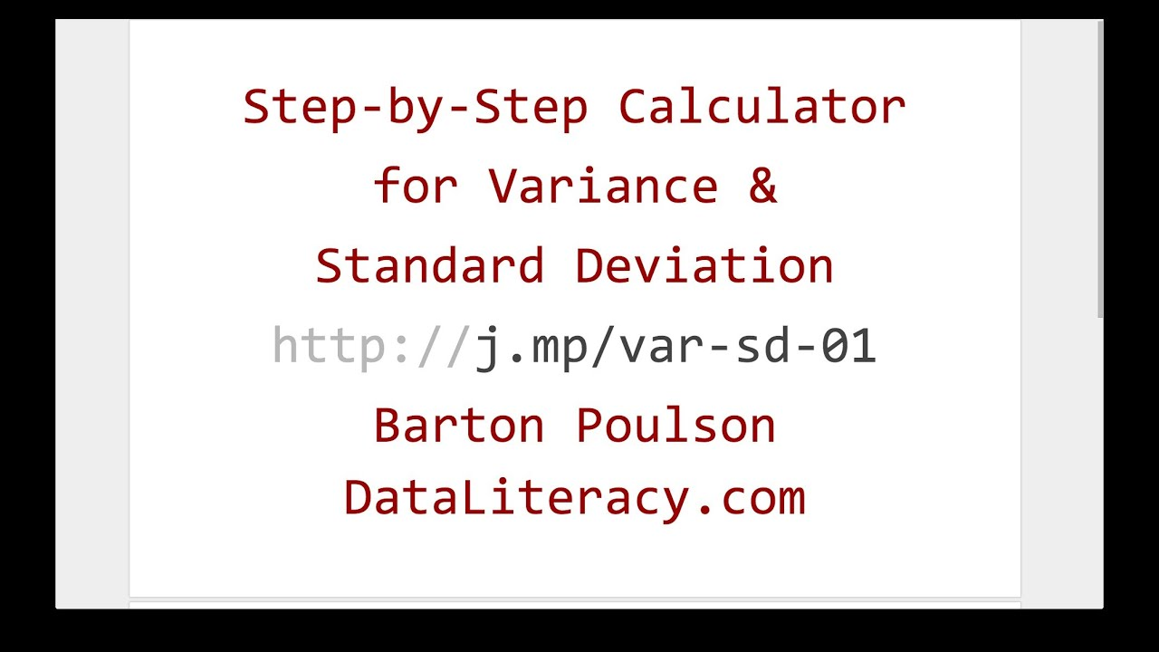 Step-by-Step Calculator for Variance and Standard ... - photo#4