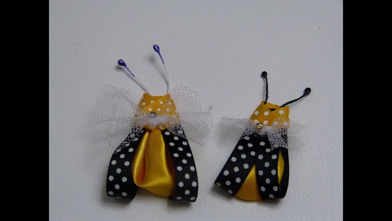 Abejitas en cinta delgada y petalo kanzashi para decorar - Accesorios para decorar ...