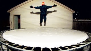 Snow Jump on the Trampoline
