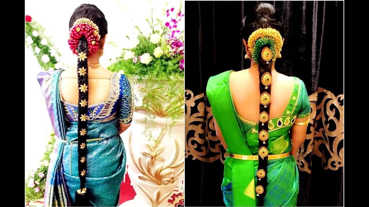 pelli poola jadai flower hairstyle   wedding poola jadai hairstyle flower decoration
